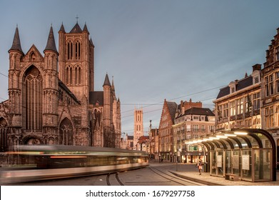 GHENT, BELGIUM - MARCH 17,2020 - View on the city centre of Ghent Belgium during the corona crisis - Korenmarkt, Ghent, Belgium