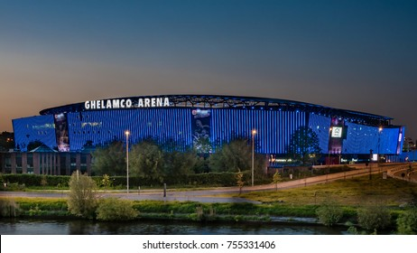 GHENT, BELGIUM - May 8, 2017: Ghelamco Arena (also Arteveldestadion) in Ghent (Gent), Belgium, hosts the home matches of football club KAA Gent. The new-built stadium replaced the Jules Ottenstadion.