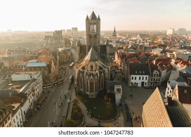 GHENT, BELGIUM - NOVEMBER 02, 2016: aerial view of ancient cathedral and cityscape in Ghent, Belgium