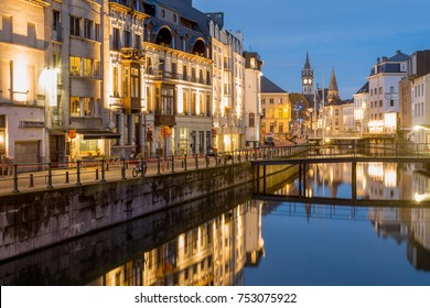 GHENT, BELGIUM – NOVEMBER 11, 2017. When the sun sets, the city lights up again. The Ghent lighting plan kicks in as thousands of lights are switched on – Post Office Tower, Ghent, Belgium