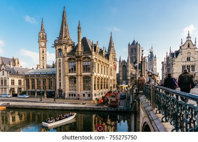 GHENT, BELGIUM - November, 2017: Architecture of Ghent city center. Ghent is medieval city and point of tourist destination in Belgium.