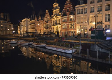 GHENT, BELGIUM - NOVEMBER 5: Buildings night view reflected on water in Ghent, Belgium on November 5, 2017.
