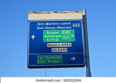 GHENT, BELGIUM - NOVEMBER 5: Road information on E40 highway in Ghent, Belgium on November 5, 2017.