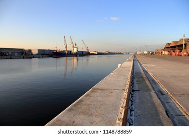 Ghent, Belgium - November 7, 2017: Cargo ship at the quay in the Port of Ghent