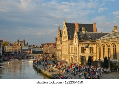 Ghent, Belgium - Oct 5, 2018. Old buildings with the canal in Ghent, Belgium. Ghent is one of Europe most underrated, if not unknown, medieval cities.