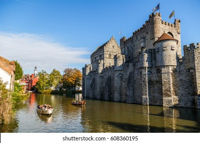 GHENT, BELGIUM - OCTOBER 16, 2016: The Gravensteen Castle, Ghent, Belgium