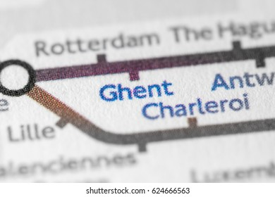 Ghent, Belgium on a geographical map.