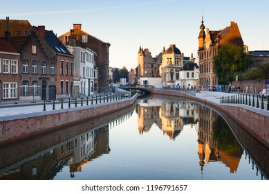Ghent, Belgium. The Reep or Nederschelde in historical city center of Ghent with Duivelsteen castle in background. Ghent, Flanders, Belgium.