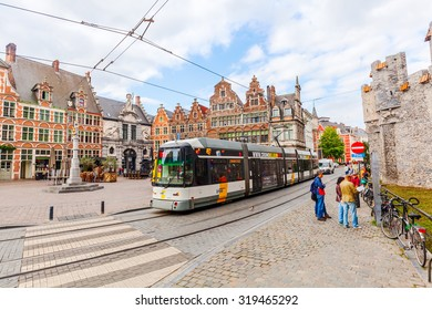 GHENT, BELGIUM - SEPTEMBER 02, 2015: Sint-Veerleplein in Ghent with unidentified people. Ghent is famous for the medieval old town and is the 2nd largest municipality by number of inhabitants