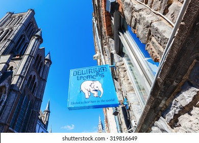 GHENT, BELGIUM - SEPTEMBER 02, 2015: signboard of Delirium Tremens Beer. 1998 won it on the World Beer Chamionship in Chicago the price of the best beer of the world, brewed by brewery Hyughe