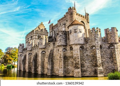 Ghent / Belgium - September 10, 2016: The Gravensteen (Castle of the Counts) is a medieval castle at Ghent, East Flanders in Belgium.