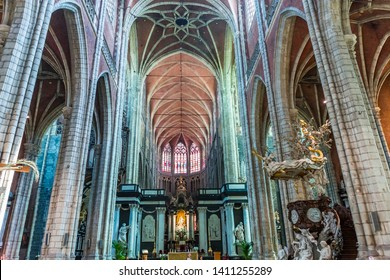 GHENT, BELGIUM-JULY 31, 2014 : Interiors, paintings and details of Saint Bavon cathedral,  july 31, 2014,  in  Ghent, Belgium