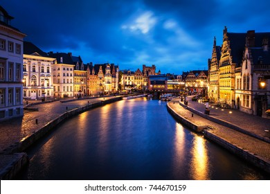 Ghent canal, Graslei and Korenlei streets in the evening. Ghent, Belgium