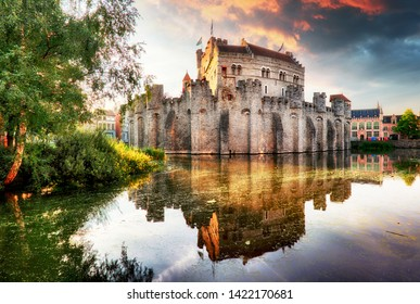 Ghent - Castle Gravensteen at dramatic sunrise