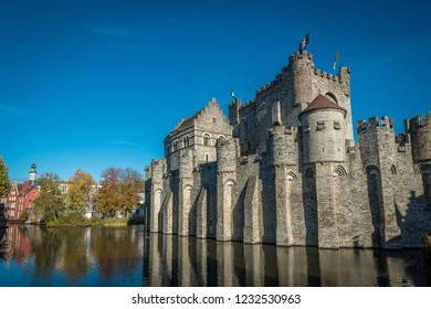 Ghent Castle - Moat-side View