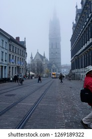 Ghent, East Flanders province, Belgium, November 16, 2018: illustrative editorial photograph of the old section of Ghent Belgium