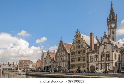 GHENT (GENT), BELGIUM - 02 MAY 2015: Panoramic view from one side of promenade to the old architecture the Leie river in the historic city center with channel and embankment (Graslei and Korenlei)