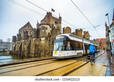 Ghent (Gent), Belgium - March 22, 2018 - Street view of the historic city center of Ghent with Gravensteen (Castle of the Count)