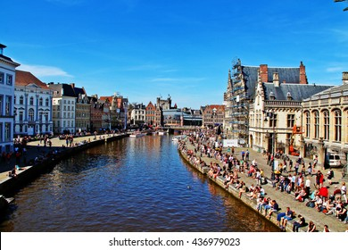 Ghent (Gent), Belgium - May 06, 2016 - View of house architectural and Leie river on St. Michael Bridge (Sint-Michielsbrug)