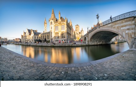 Ghent old town promenade panorama in afternoon light. Belgium - long exposure