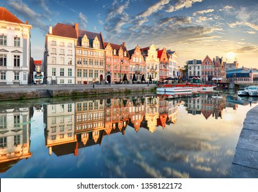 Ghent town with old house at sunset, Belgium