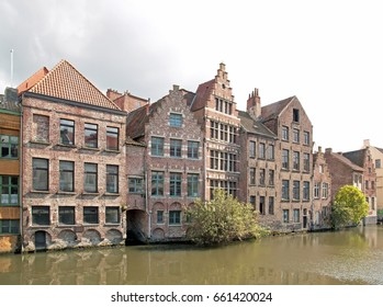 Ghent, typical houses along Lys (Ghent, Belgium).