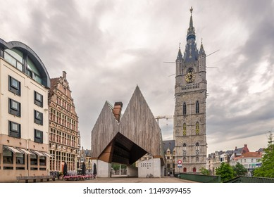 GHENT,BELGIUM - MAY 21,2018 - City pavilion with City belfry of the Ghent. Ghent is a city and a municipality in the Flemish Region of Belgium.