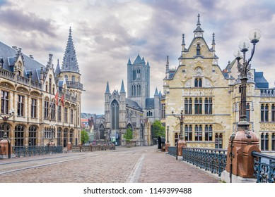 GHENT,BELGIUM - MAY 21,2018 - In the morning streets of the Ghent. Ghent is a city and a municipality in the Flemish Region of Belgium.