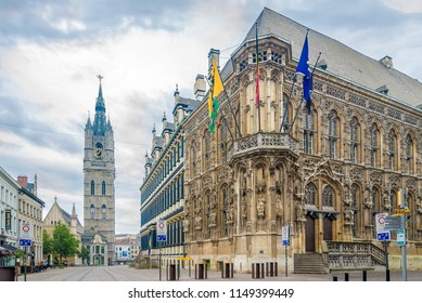 GHENT,BELGIUM - MAY 21,2018 - View at the City hall and belfry of the Ghent. Ghent is a city and a municipality in the Flemish Region of Belgium.