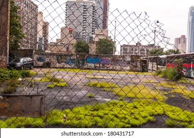 Ghetto em NY. Harlem em Nova Iorque. Zona de pobreza de Nova Iorque