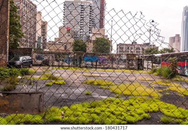 Ghetto in NY. Harlem in New York City. NYC poverty area