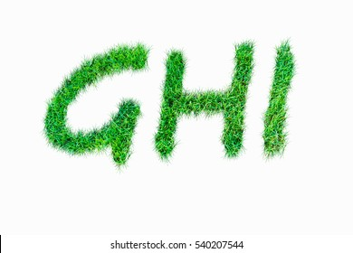 GHI Green nature real grasss font isolated on white