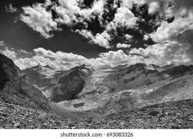 Ghiacciaio Presena (Bs) Italy, the riverbed of the Mount Adamello
