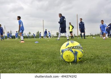 GHIMBAV, BRASOV, ROMANIA - AGUST 3: Soccer football training camp for kids, children at FOREX GHIMBAV, Romania 03 august 2016