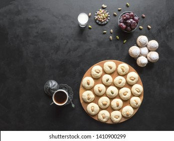 Ghorayeba sweets. Eid eats. Cookies of El Fitr Islamic Feast. Ramadan sweets background.