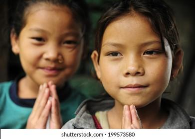 Ghorepani, Nepal - AUGUST 28, 2010:  Nepali girls