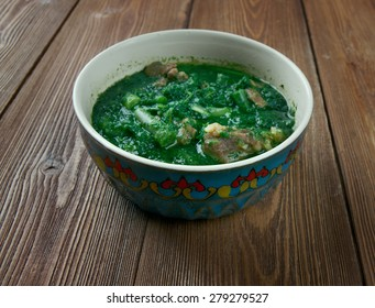 Ghormeh sabzi -  herb stew. It is a popular dish in Iran, and Azerbaijan and is often said to be the Iranian national dish.