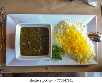 Ghormeh Sabzi is an Iranian herb stew which is a mixture of sauteed herbs, consisting mainly of parsley, leeks or green onions, coriander, seasoned with the key spice of dried fenugreek leaves.