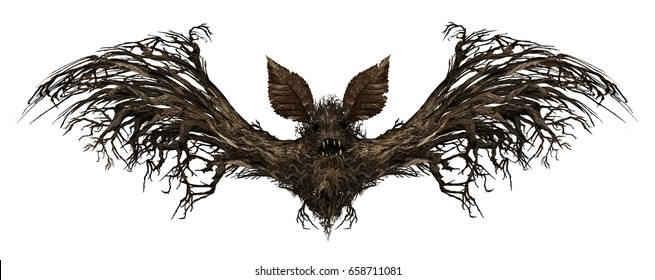 Ghost bat isolated on a white background as a creepy scary surreal flying winged creature made from a tree as a spooky surrealistic vampire symbol or halloween icon with 3D illustration elements.