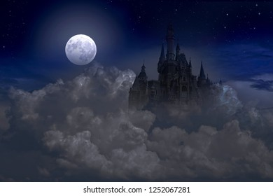 A ghost castle in the night sky at full moon