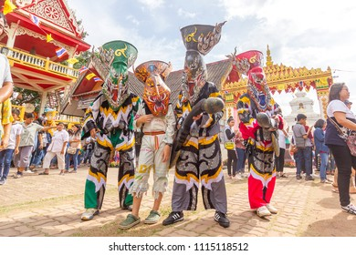 Ghost Festival (Phi Ta Khon Festival) June 17, 2018 at Dan Sai District, Loei Province, Thailand.