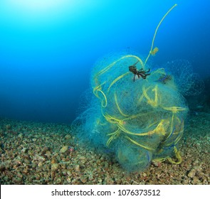 Ghost fishing net pollution of ocean