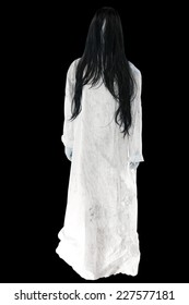 Ghost Girl Horror isolated on black background with clipping path