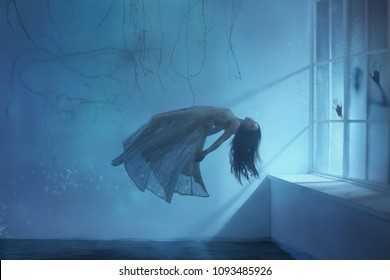 A ghost girl with long hair in a vintage dress. Room under water. A photograph of levitation resembling a dream. A dark Gothic interior with branches and a huge window of flooded light. Art photo