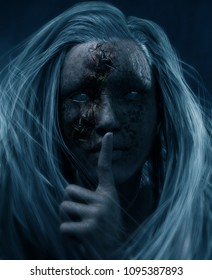 Ghost girl making a silence gesture,3d illustration