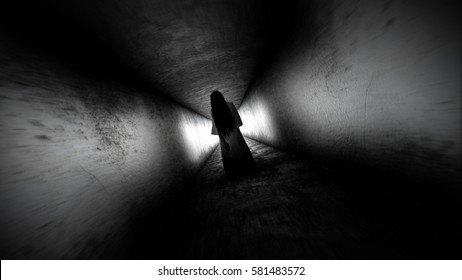Ghost girl. Scary ghost in the dark corridor