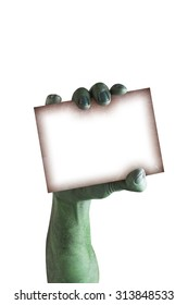 Ghost hand holding a blank sign card halloween isolated on white background with clipping path