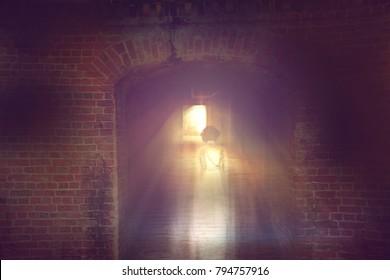 ghost little girl appears in underground tunnel, children die in war, halloween concept.