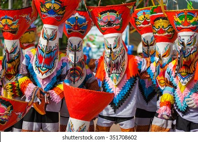 Ghost mask and costume colorful Festival Phi Ta Khon festival at Loei Province,Thailand