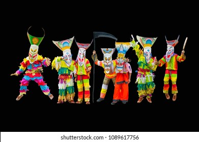 Ghost mask and costume colorful Phi Ta Khon festival on every June of the year. Young people dress in spirit and wear a mask, sing and dance at Dansai, Loei, Thailand. isolated with clipping patch
